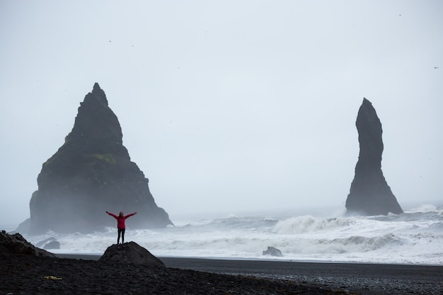 Summertime, woman in a pink coat standing on a black sand beach in iceland