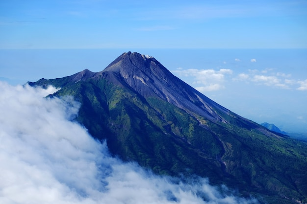 Summit of merapi volcano in yogyakarta, a view from merbabu mountain, magelang, indonesia.