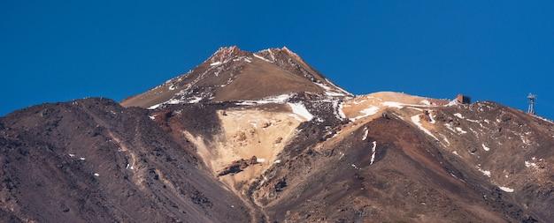 Summit panorama of teide volcano peak in tenerife, canary islands, spain.