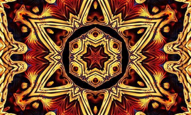 중앙에 오각형이 있는 원을 소환합니다. 악마를 부르는 룬 문자. 어둠 속에서 노란색 빛나는 세부 사항.