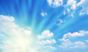 Sun between clouds