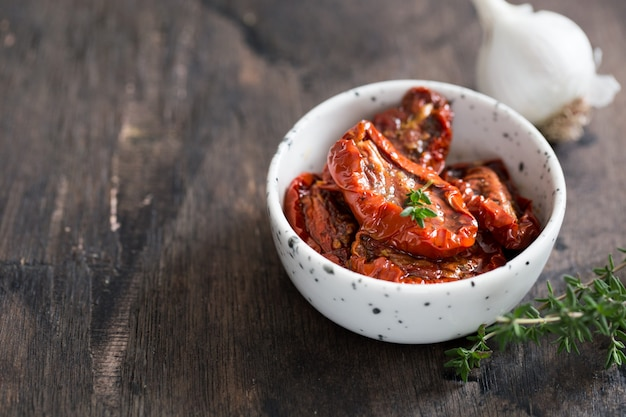Sun-dried tomatoes in a plate