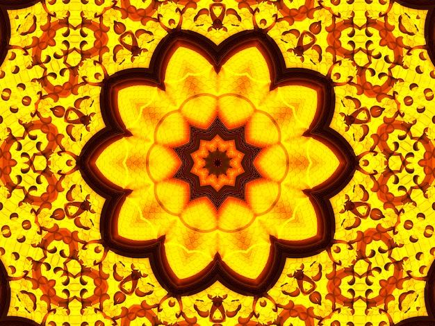 太陽の花万華鏡の背景。美しい黄色のひまわりのシームレスなパターン。ユニークな万華鏡のモザイクテクスチャ。夏の花のテーマ。