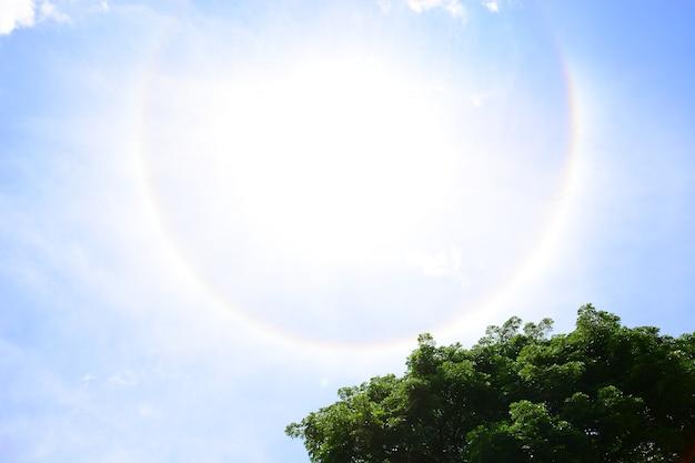 Sun halo with blue sky background