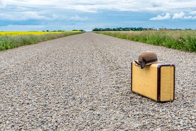 太陽の帽子と大草原の田舎道でビンテージスーツケース