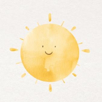 Солнце в элементе дизайна акварели