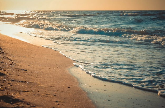 The sun is reflected in waves rolling on a sandy beach, close-up