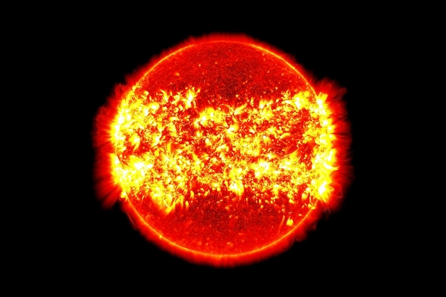 Sun is a star, on a dark background. elements of this image were furnished by nasa. for any purpose.
