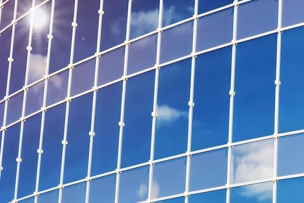 Солнце свет небо облако отражение в стеклянном офисном здании