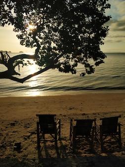 Шезлонги на пляже на морском курорте.