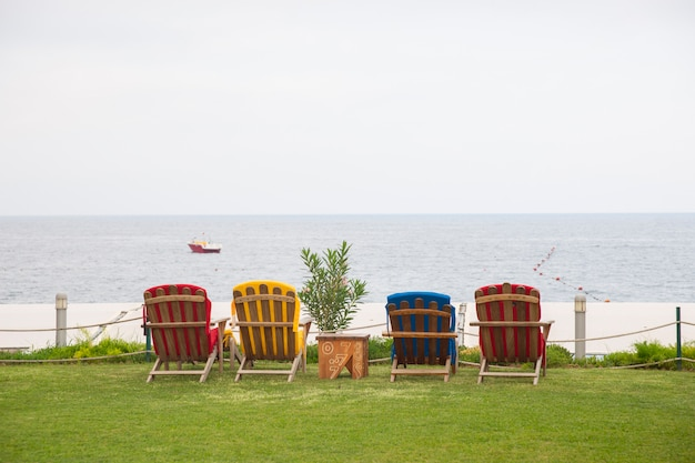 Sun loungers with sea view