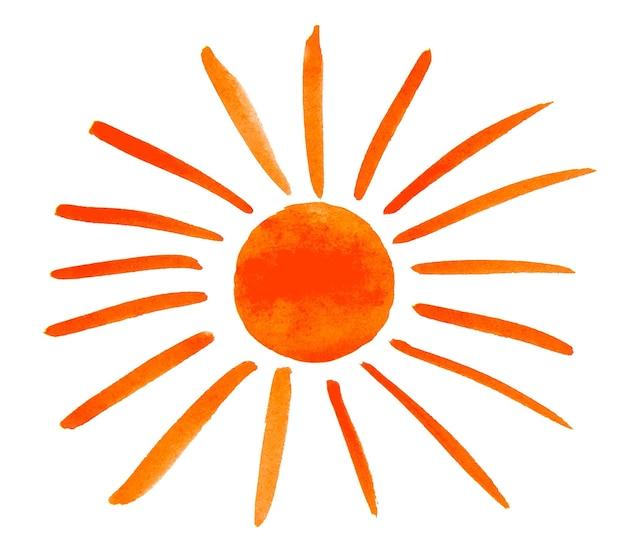 흰색 배경에 고립 된 페인트로 칠한 태양