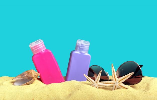 Sun protection set on beach