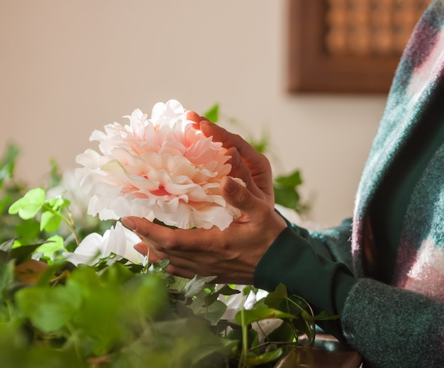 Луч солнца освещает цветок пиона в руках девушки