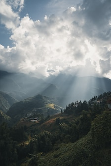 Sun rays over the town of sa pa vietnam