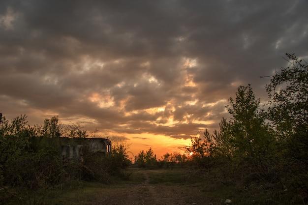 Sun rises in the ruins