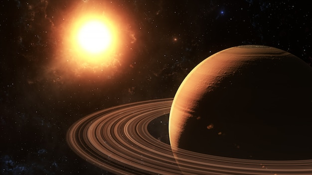 The sun shines on saturn in space, 3d rendering.