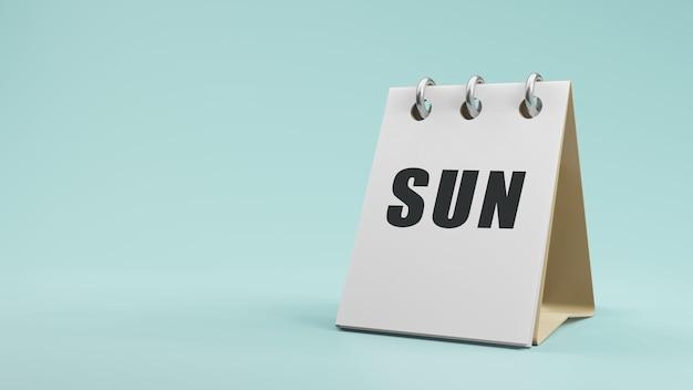 紙の卓上カレンダーの3dレンダリングで日曜日