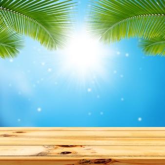 야자수와 태양 나뭇잎 bokeh 사각형 디스플레이 배경