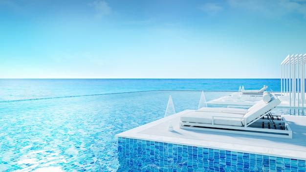 고급 빌라, 편안한 summe, 해변 라운지, / 3d 렌더링에서 일광욕 데크와 개인 수영장