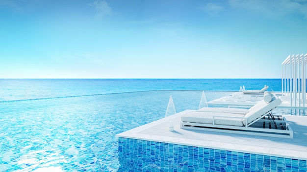 Sunbathing deck and private pool at luxury vila,relaxing summe,beach lounge,  /3d rendering