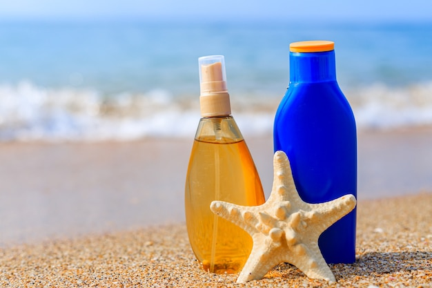 Sunburn milk on the background of the sea protection of the skin from the sun uniform tan sfp  b