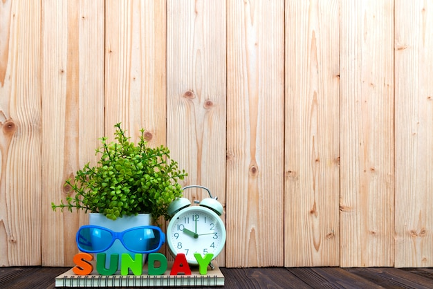Sunday letters text and notebook paper, alarm clock and little decoration tree in white vase on wooden background