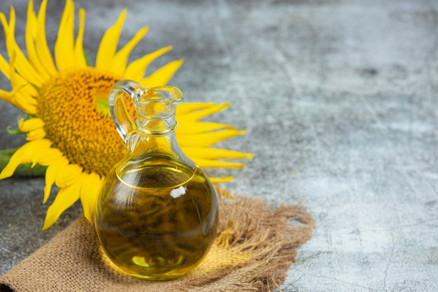 Sunflower oil on the table