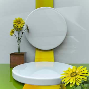Sunflower product stage 3d rendering background