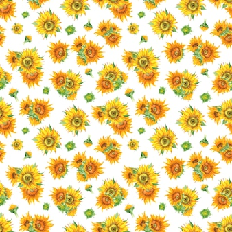 Sunflower seamless pattern in watercolor