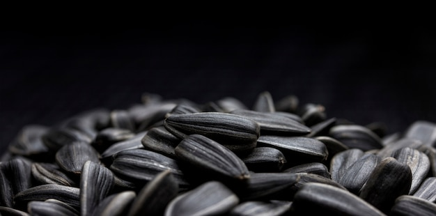 Sunflower seeds on black