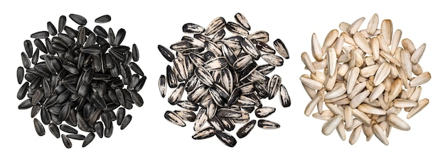 Sunflower seeds isolated on white background with clipping path, top view