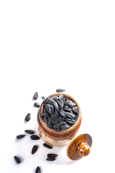 Sunflower seeds isolated on white surface helianthus annuus.