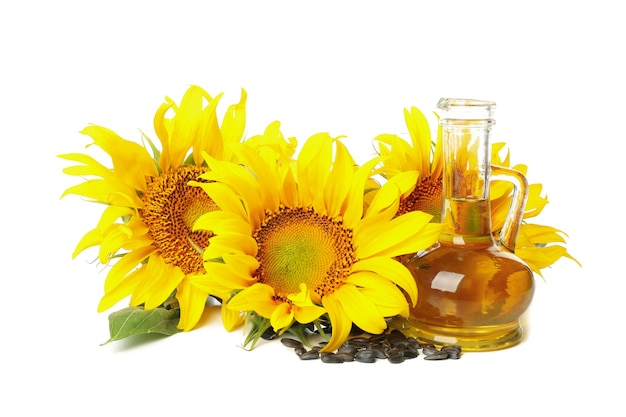 Sunflower, seeds and oil isolated