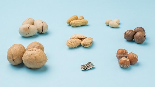 Семена подсолнечника на поверхности разных орехов на синем фоне