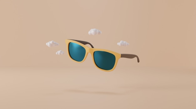 Sunglasses on beige background.