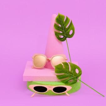 Sunglasses in geometric composition. minimal  flat lay art.  fashion eyewear  concept