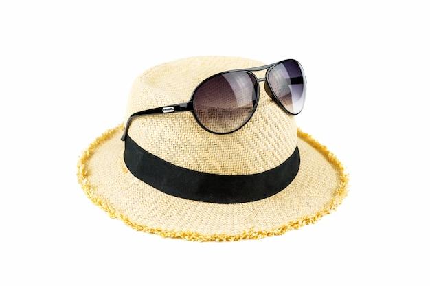 Sunglasses on hat.