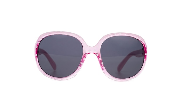 Солнцезащитные очки в розовой оправе с точками, изолированные на белом фоне