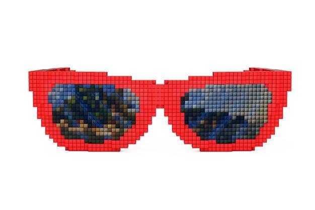 Солнцезащитные очки в стиле пиксель-арт на белом фоне. 3d-рендеринг.