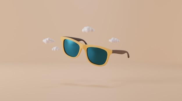 베이지 색 바탕에 선글라스입니다.