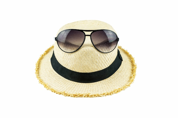 Sunglasses on red hat.