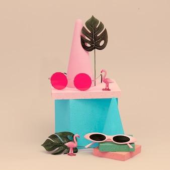 Sunglasses in a stylish geometric composition. minimal  flat lay art.  eyewear beach trendy concept