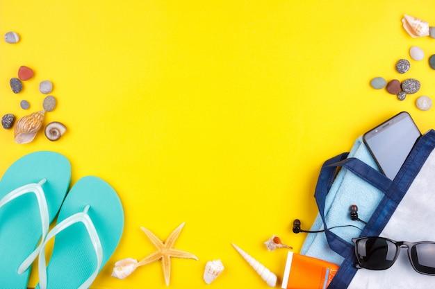 Sunglasses, sunscreen, headphones, smartphone, towel, slippers.