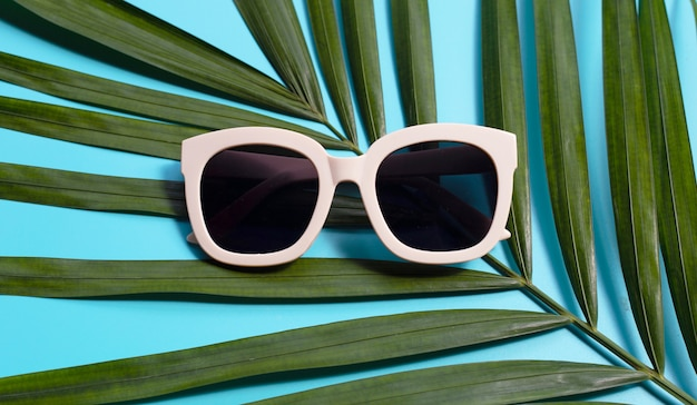 Sunglasses on tropical palm leaves on blue background. top view