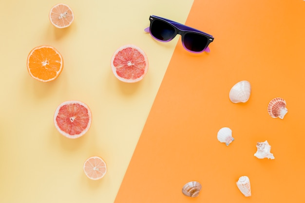 Sunglasses with citrus fruits and sea shells