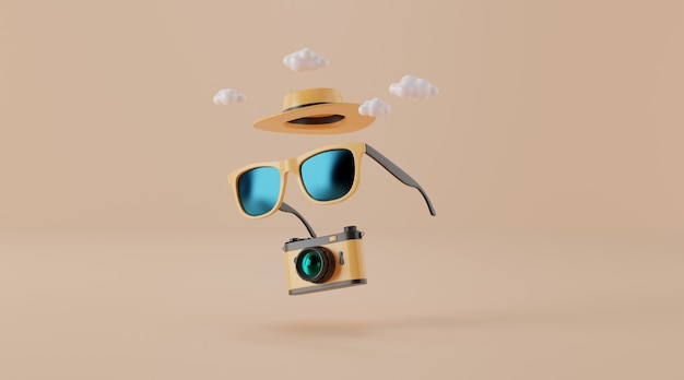 Sunglasses with hat and camera on beige. travel concept.