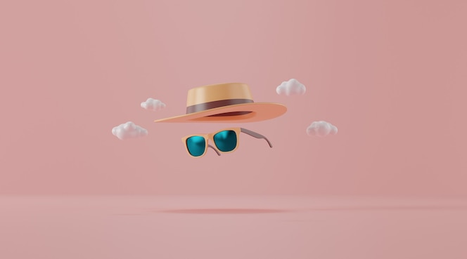 Sunglasses with hat on pink. travel concept.