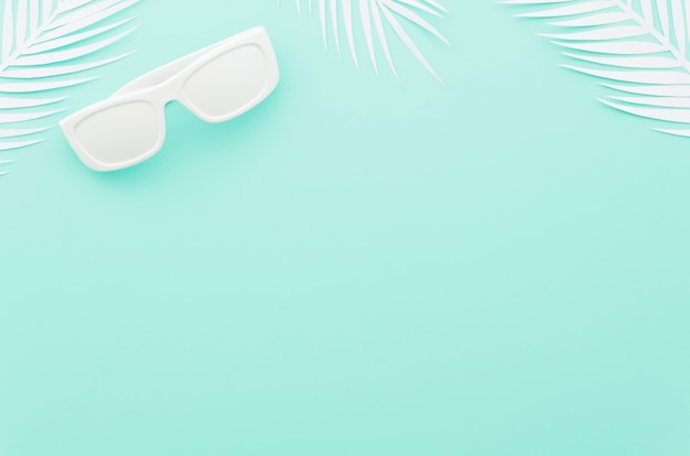 Sunglasses with white palm leaves