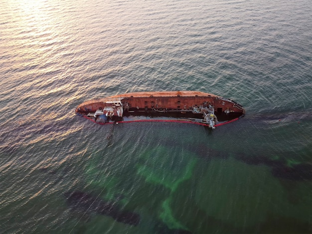 The sunken tanker delfi was swept into the sea by a storm and sailed to the shores
